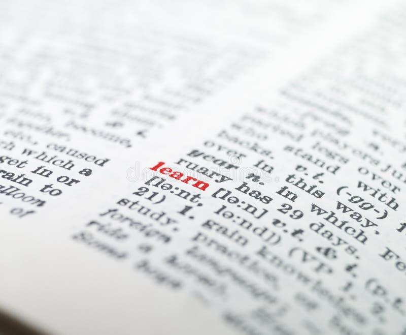 La palabra ?aprende? destacado imágenes de archivo libres de regalías