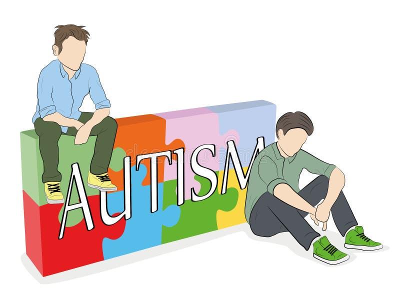 La palabra AUTISMO contra la perspectiva de rompecabezas adolescentes que se sientan en el fondo del rompecabezas Ilustraci?n del ilustración del vector