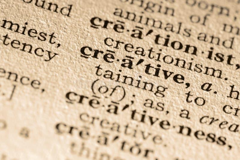 La palabra creativa imagen de archivo