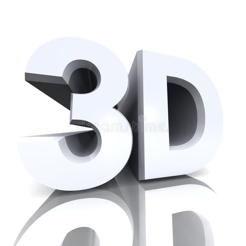La palabra 3D ilustrada en blanco ilustración del vector