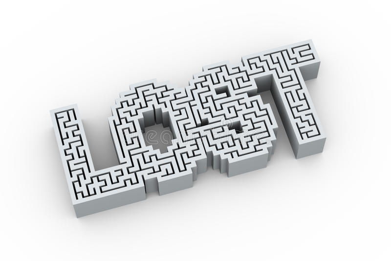 la palabra 3d perdió en diseño del rompecabezas del laberinto del laberinto ilustración del vector