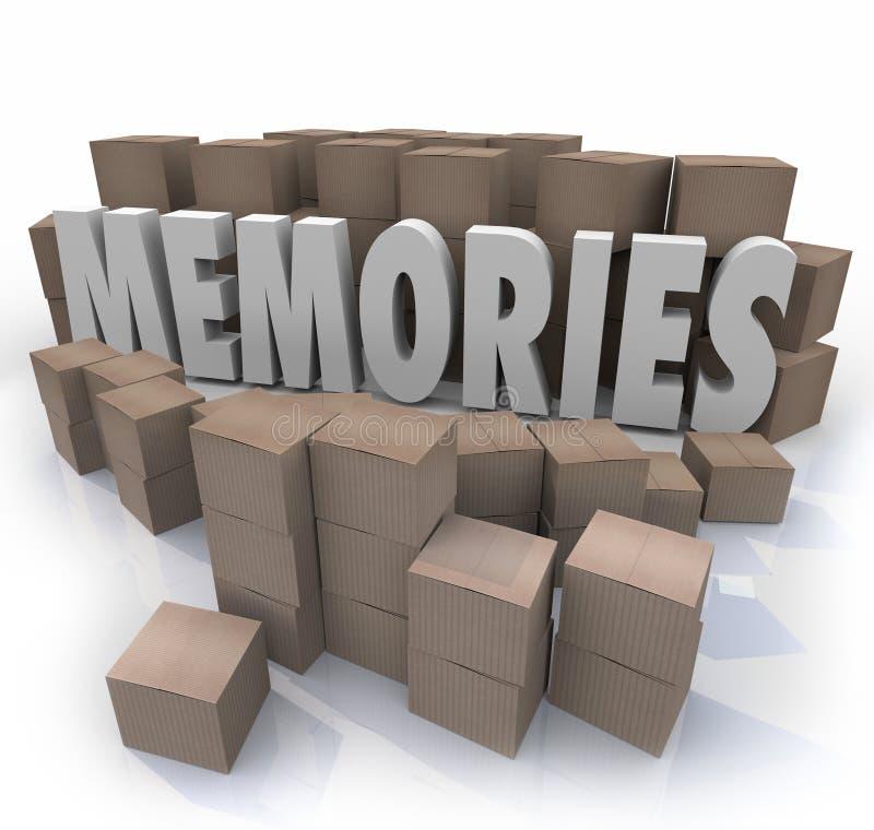 La palabra de la caja de cartón de las memorias recuerda épocas más allá ilustración del vector