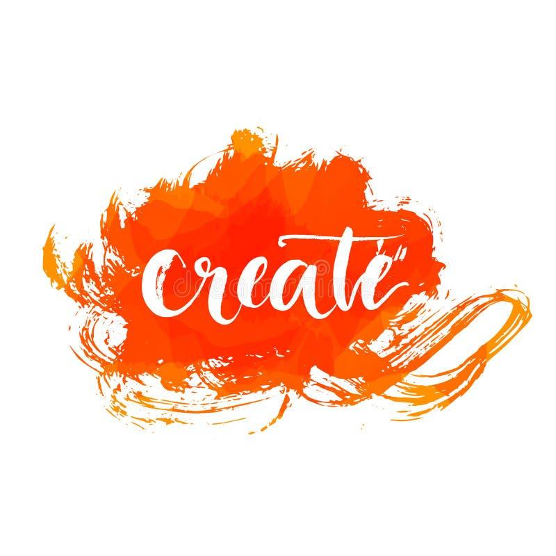 La palabra de la caligrafía del cepillo crea en expresivo anaranjado stock de ilustración