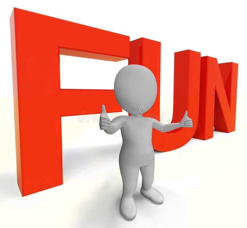 La palabra de la diversión muestra el disfrute Joy And Happiness stock de ilustración