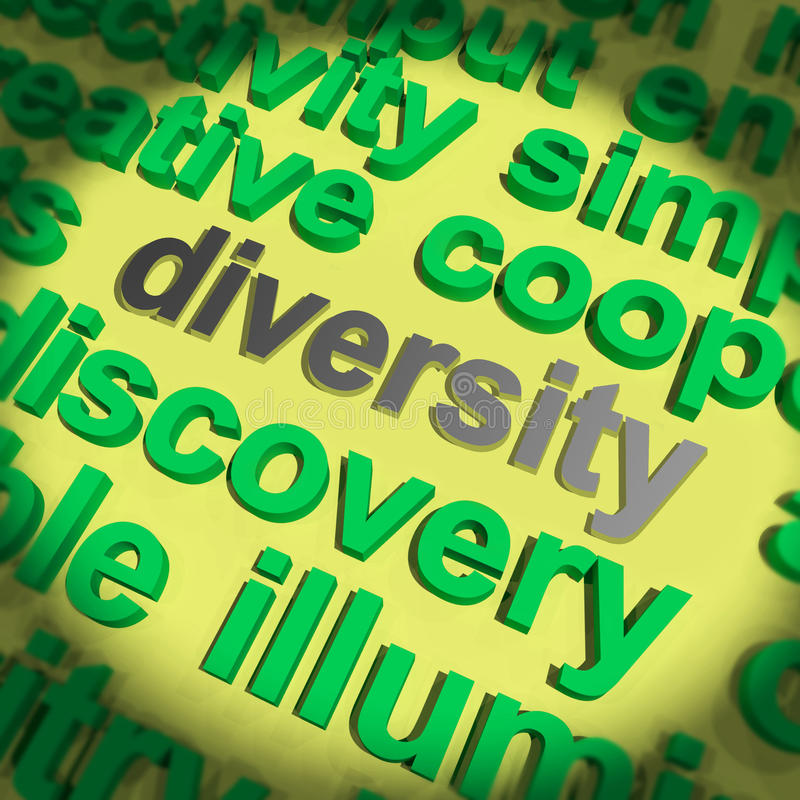 La palabra de la diversidad significa diferencias culturales y étnicas stock de ilustración