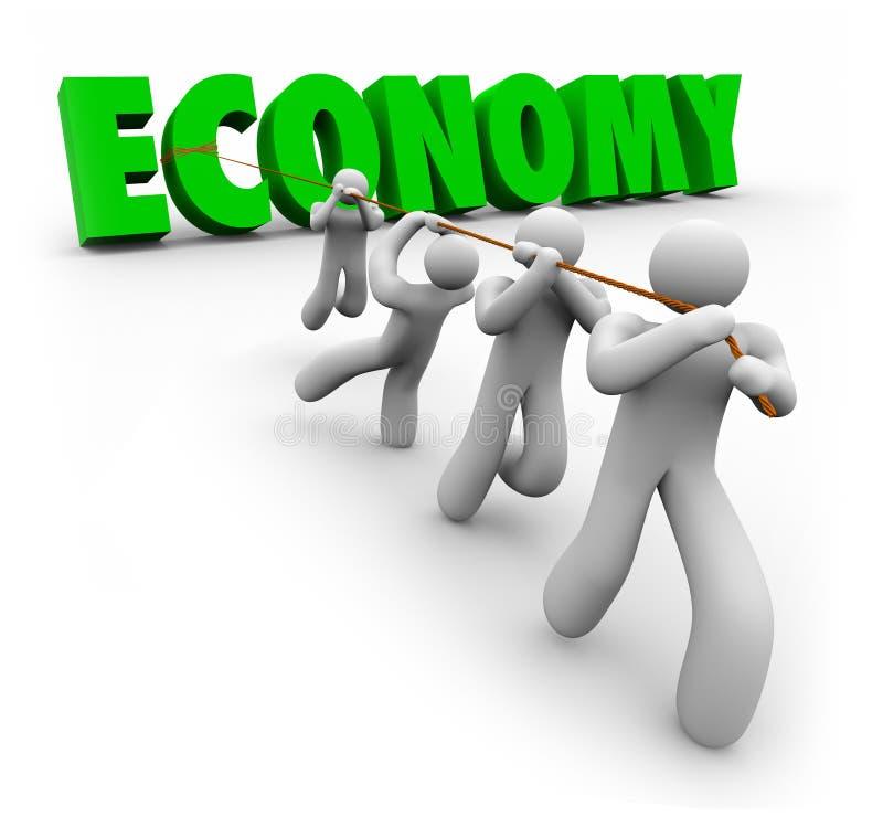 La palabra de la economía tiró por los clientes que los trabajadores mejoran Growt financiero stock de ilustración