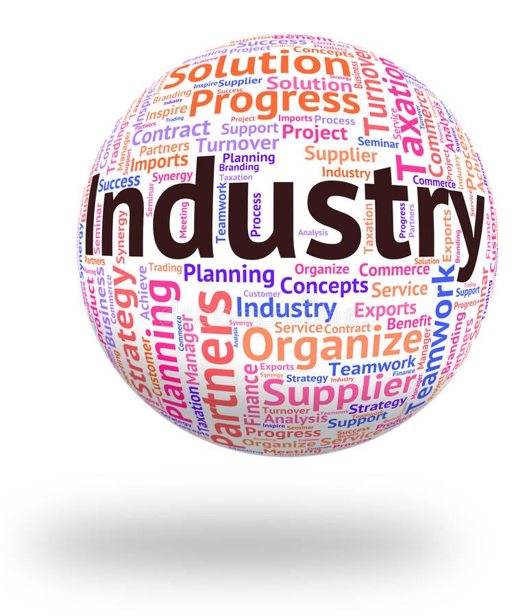 La palabra de la industria representa Wordcloud industrializado y el texto libre illustration