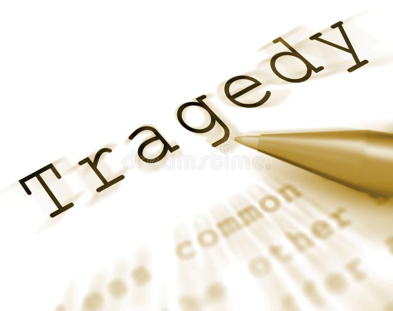 La palabra de la tragedia exhibe desgracia o el soplo del desastre ilustración del vector