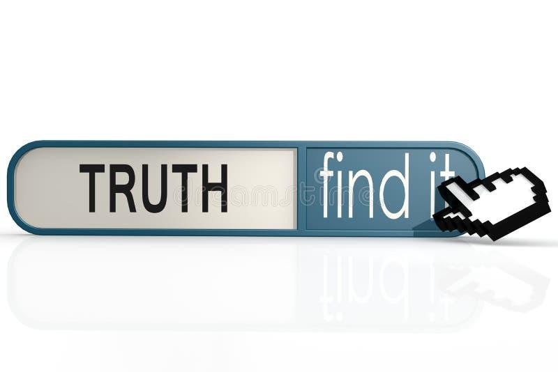 La palabra de la verdad en el azul lo encuentra bandera ilustración del vector