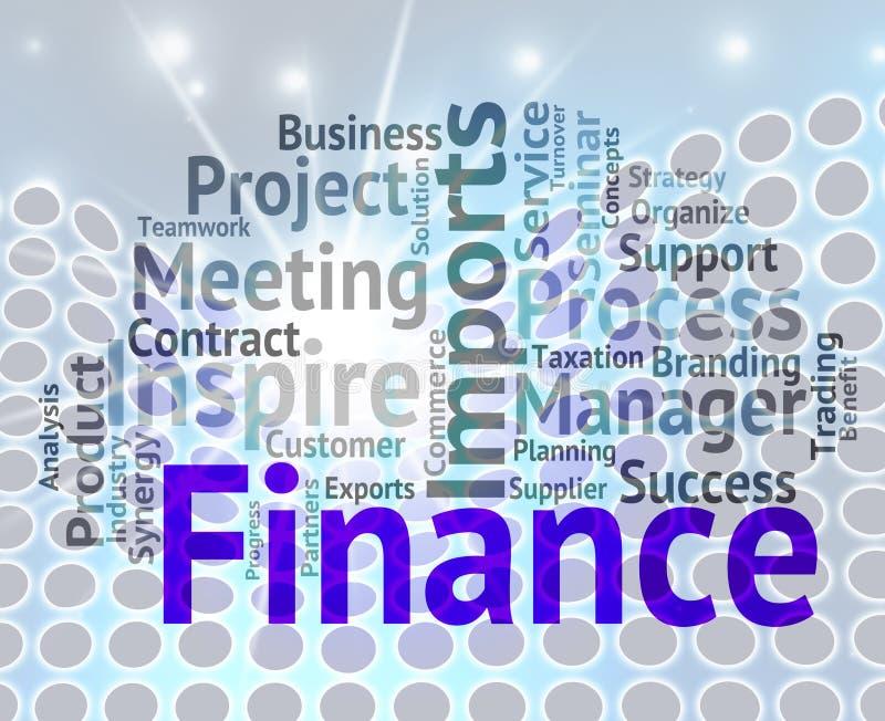 La palabra de las finanzas indica beneficio y la inversión de negocio ilustración del vector