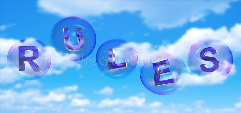 La palabra de las reglas en burbuja ilustración del vector