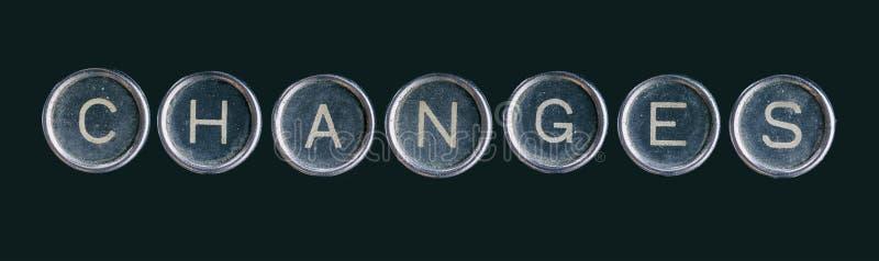 La palabra de los cambios hecha con los botones fotografía de archivo