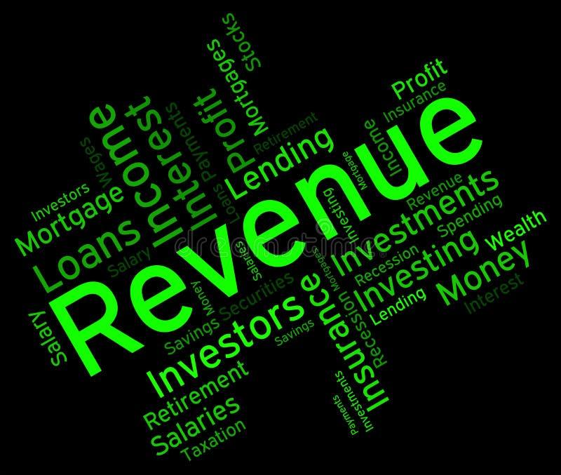 La palabra de los ingresos representa las palabras Wordcloud y los ingresos libre illustration