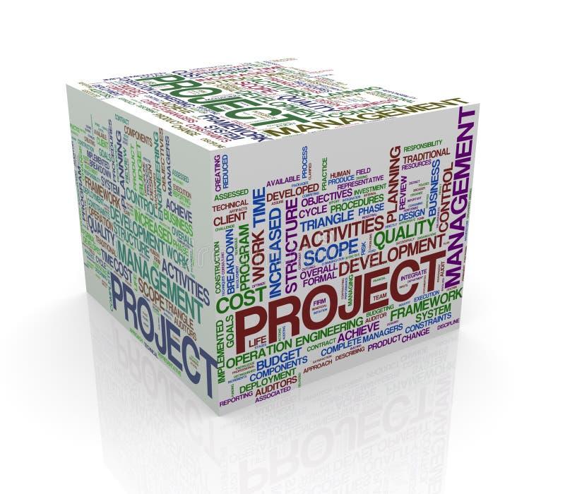 la palabra del cubo 3d marca el wordcloud con etiqueta de la gestión del proyecto stock de ilustración