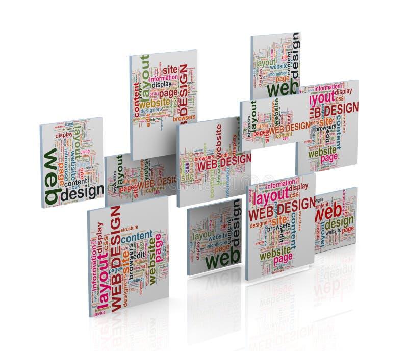 la palabra del diseño web 3d marca el wordcloud con etiqueta ilustración del vector