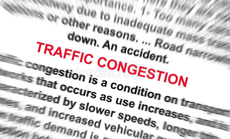 La palabra del ongestion del tráfico empaña radialmente fotografía de archivo
