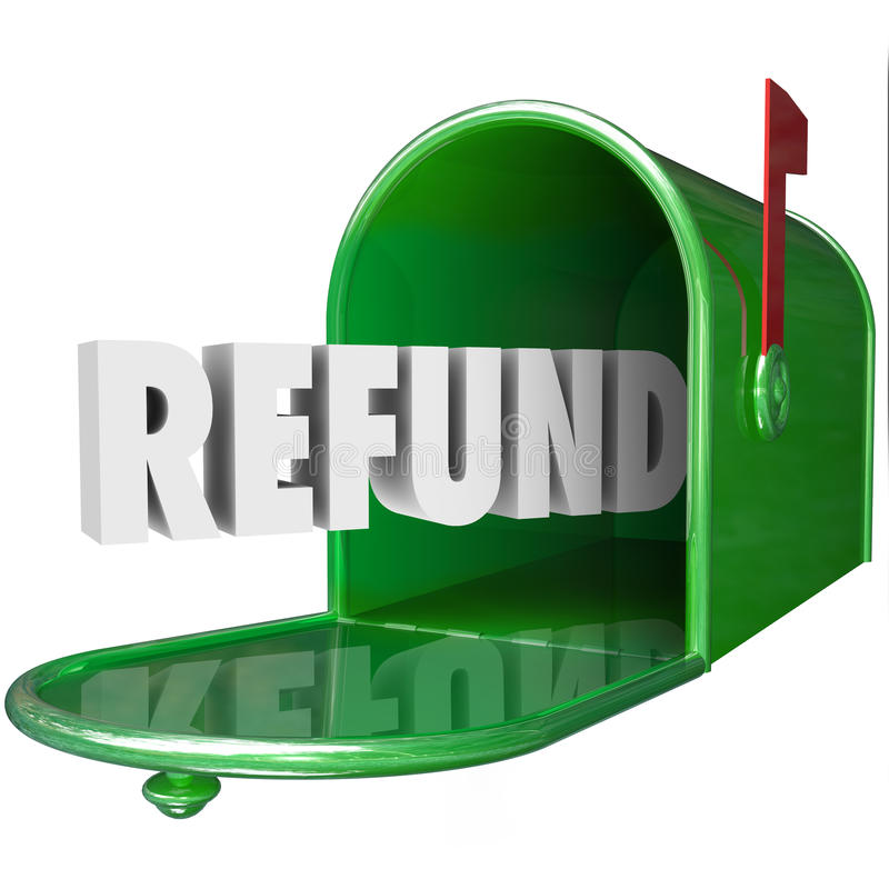 La palabra del reembolso recibe impuesto de la entrega del buzón del reembolso del dinero stock de ilustración