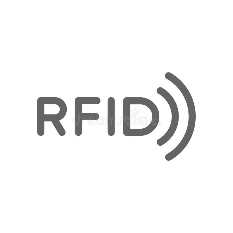 La palabra del RFID con las ondas inal?mbricas de radio alinea el icono ilustración del vector