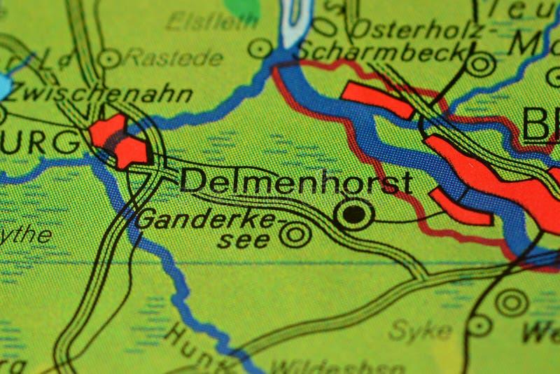 La palabra Delmenhorst, cerca de Bremen, mapa del onhe imagen de archivo