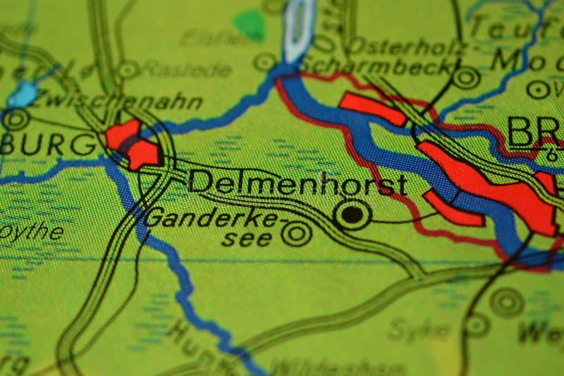 La palabra Delmenhorst, cerca de Bremen, mapa del onhe imágenes de archivo libres de regalías