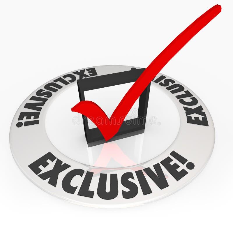 La palabra exclusiva protagoniza la publicidad del producto del contenido del acceso especial ilustración del vector