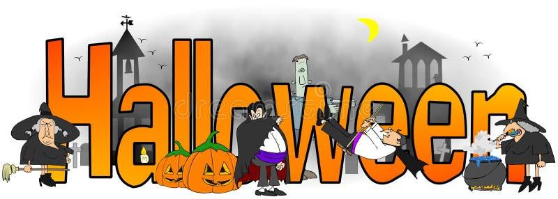 La palabra Halloween rodeado por las brujas, los vampiros y los monstruos stock de ilustración