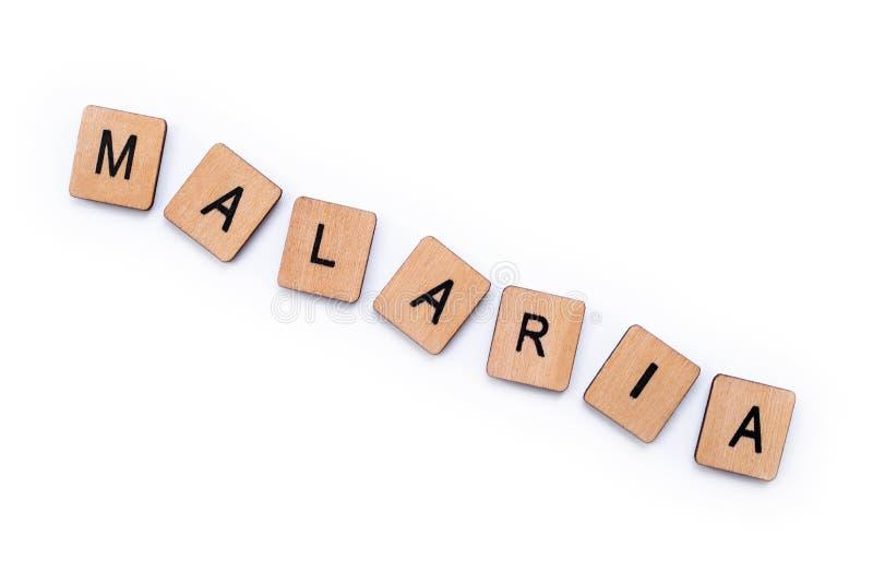 La palabra MALARIA imagen de archivo
