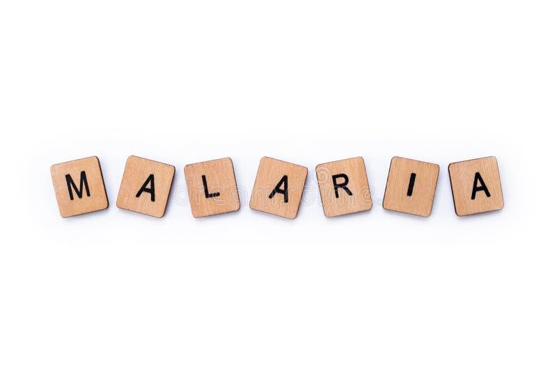 La palabra MALARIA imágenes de archivo libres de regalías