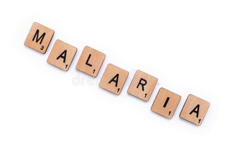 La palabra MALARIA fotos de archivo