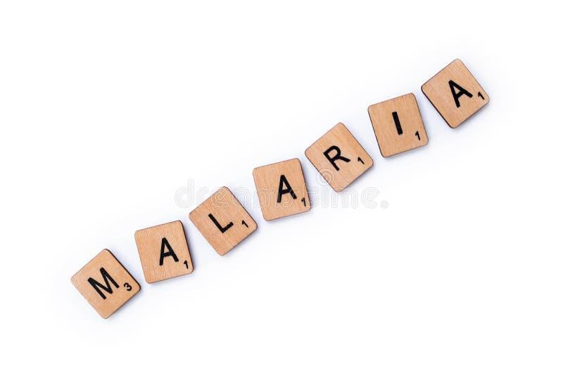La palabra MALARIA imagenes de archivo