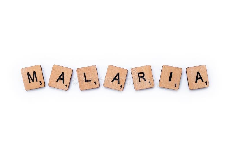 La palabra MALARIA imagen de archivo libre de regalías