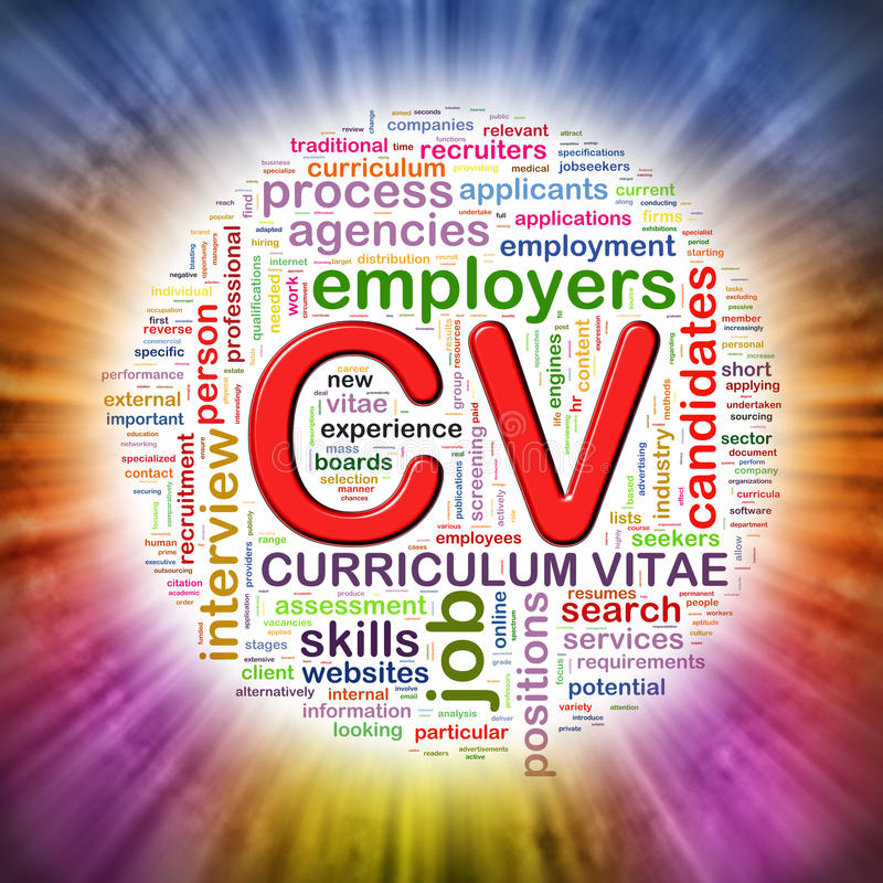 La palabra marca el wordcloud con etiqueta circular del CV ilustración del vector
