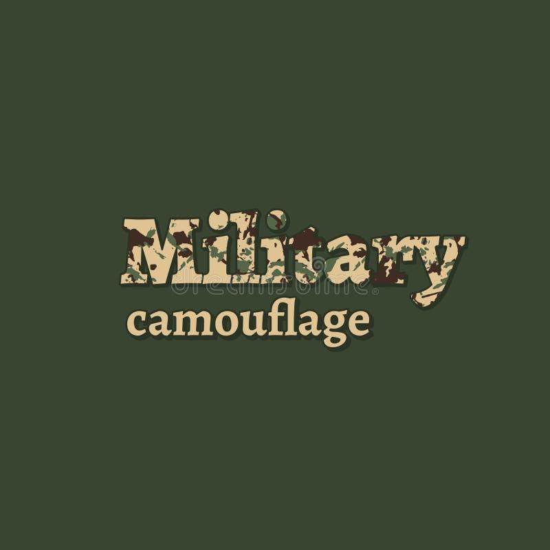 La palabra militar con el terraplén del camuflaje en el fondo verde de color caqui Diseño de moda del logotipo para la tienda o l ilustración del vector