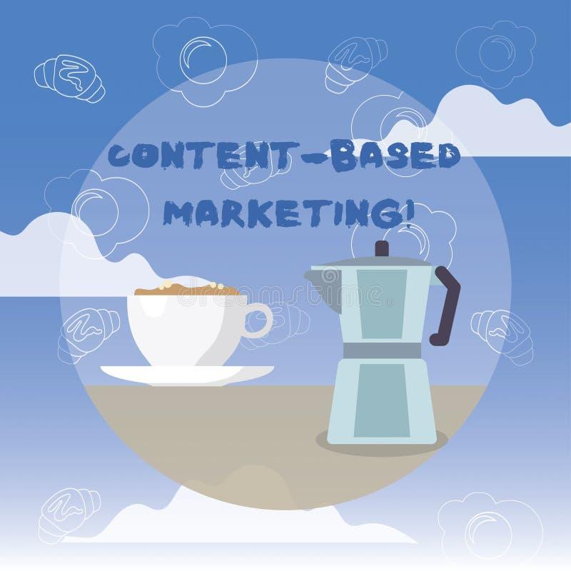 La palabra que escribía el contenido del texto basó el márketing Concepto del negocio para hacer publicidad de datos valiosos de  ilustración del vector