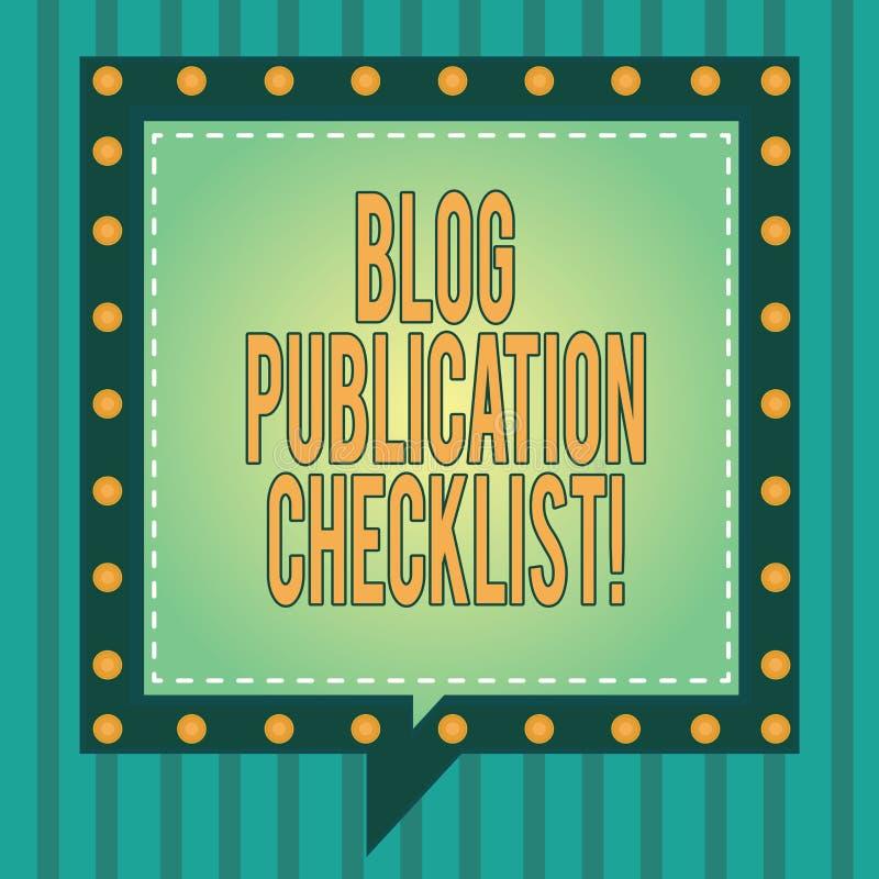 La palabra que escribe el concepto del negocio de la lista de control de la publicación del blog del texto para los artículos pro imagen de archivo libre de regalías
