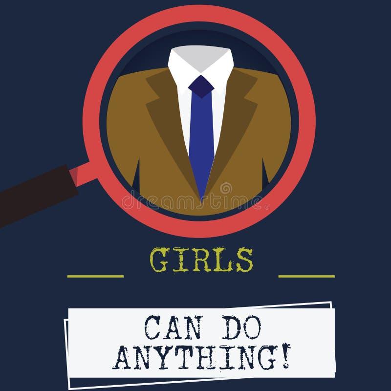 La palabra que escribe a muchachas del texto puede hacer cualquier cosa Concepto del negocio para la foto femenina de la lupa de  ilustración del vector