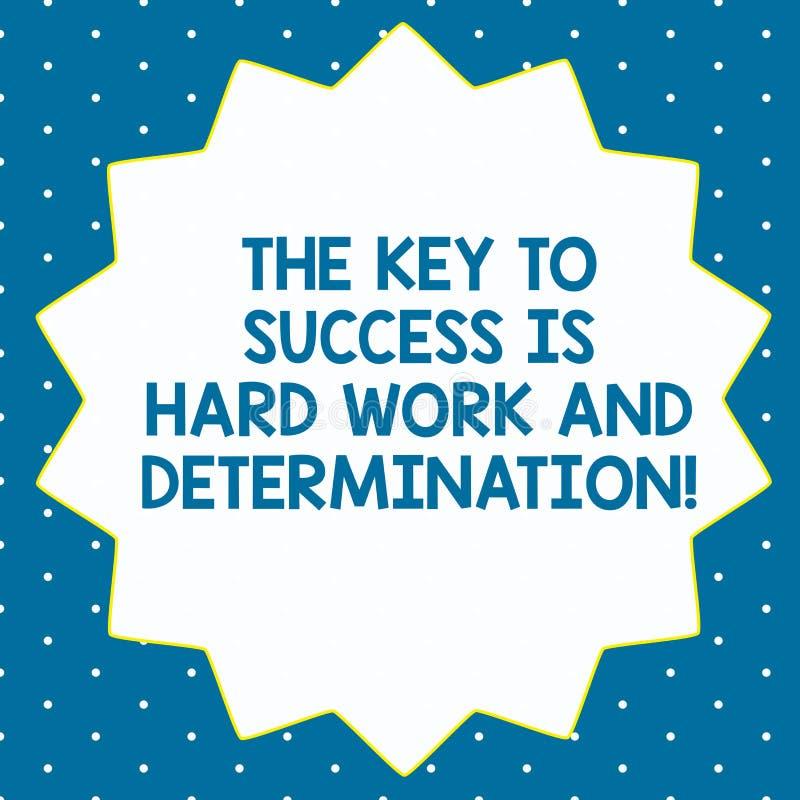 La palabra que escribe a texto la llave al éxito es difícilmente trabajo y determinación Concepto del negocio para el esmero que  stock de ilustración