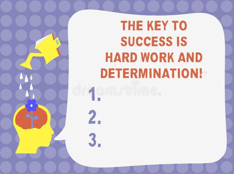 La palabra que escribe a texto la llave al éxito es difícilmente trabajo y determinación Concepto del negocio para el esmero que  libre illustration