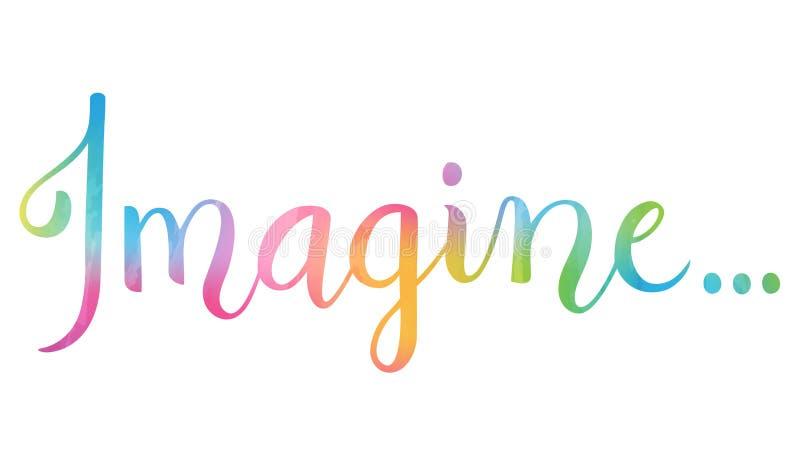 La palabra SE IMAGINA del concepto de la caligrafía del cepillo de la acuarela campo ilustración del vector