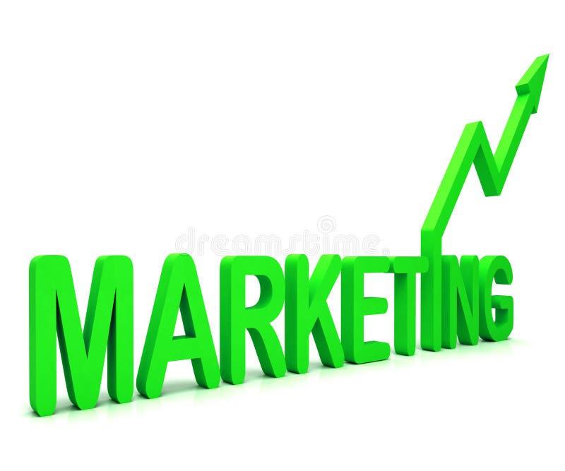 La palabra verde del márketing significa ventas y la publicidad de la promoción stock de ilustración