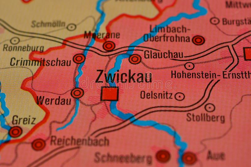 La palabra ZWICKAU en el mapa imagen de archivo