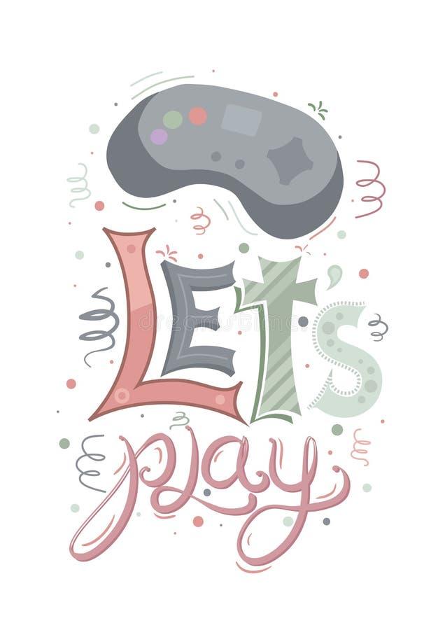 La palanca de mando retra del juego con las letras multicoloras deja el juego y diversos modelos en el fondo blanco Elemento del  libre illustration