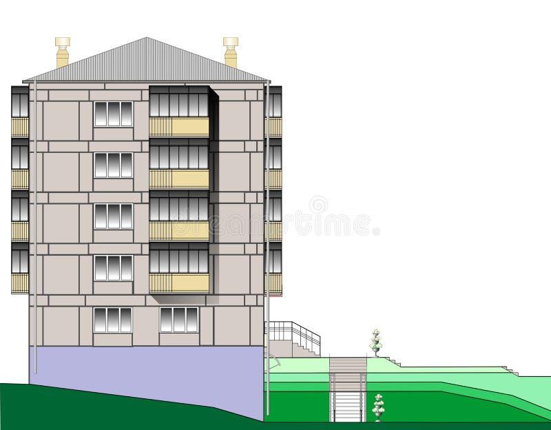 La palazzina di appartamenti del condominio di immagine di vettore  illustrazione vettoriale