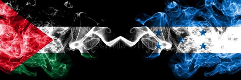 La Palestine contre le Honduras, drapeaux mystiques fumeux honduriens placés côte à côte ?pais color? soyeux fume le drapeau des  illustration de vecteur