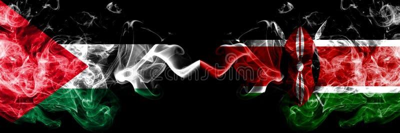 La Palestine contre le Kenya, drapeaux mystiques fumeux kenyans placés côte à côte Épais coloré soyeux fume le drapeau des Palest illustration stock
