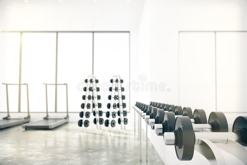 La palestra con i pesi si trova nella gamma, nella pedana mobile e nelle grandi finestre illustrazione vettoriale