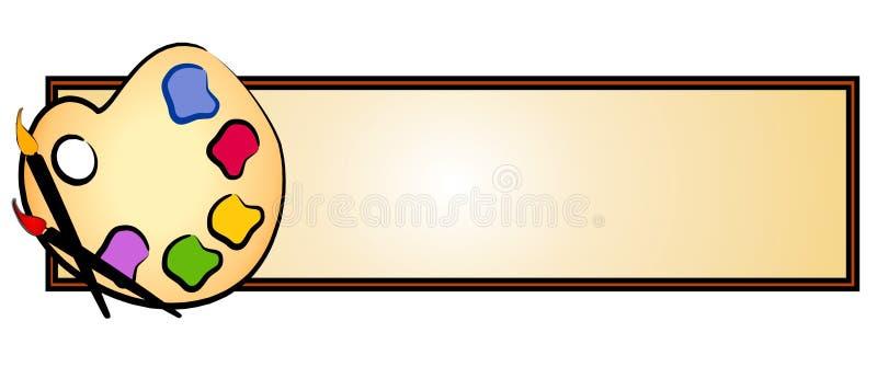 La paleta del artista aplica insignia del Web con brocha ilustración del vector