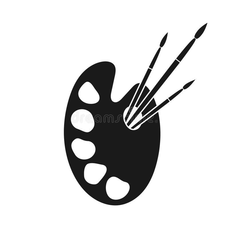 La palette avec des peintures et des pinceaux signent illustration stock