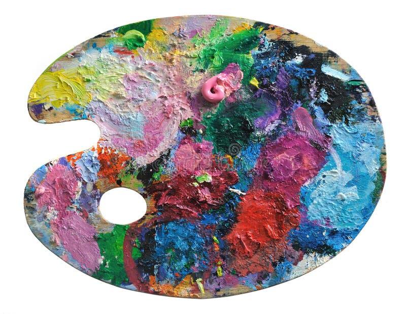 La palette de l'artiste en bois image stock