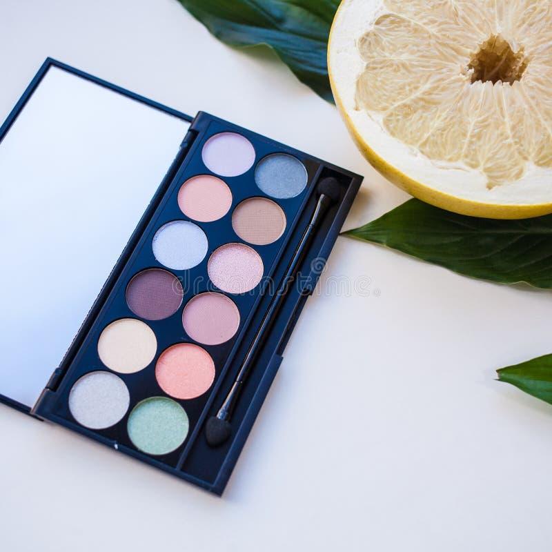 La palette haute étroite du cosmétique multicolore en pastel composent, palette de fard à paupières, texture colorée d'ombres photos libres de droits